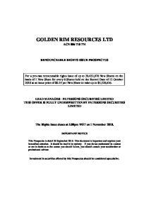GOLDEN RIM RESOURCES LTD ACN