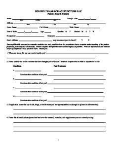 GOLDEN TAMARACK ACUPUNCTURE LLC Patient Health History