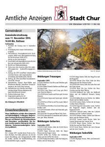 Goldene Herbststimmung an der Plessur. Meldungen Trauungen