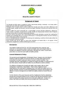 GOLDINGTON GREEN ACADEMY HEALTH & SAFETY POLICY. Statement of Intent