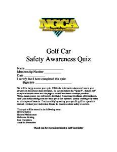 Golf Car Safety Awareness Quiz