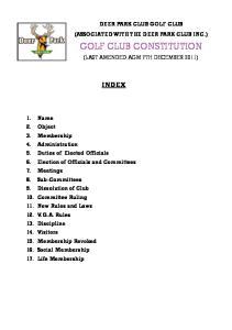 GOLF CLUB CONSTITUTION