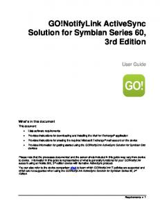 GO!NotifyLink ActiveSync Solution for Symbian Series 60, 3rd Edition