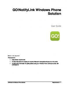 GO!NotifyLink Windows Phone Solution