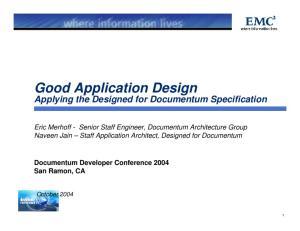 Good Application Design