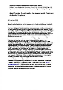 Good Practice Guidelines for the Assessment & Treatment of Gender Dysphoria