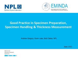 Good Practice in Specimen Preparation, Specimen Handling & Thickness Measurement