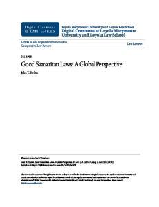 Good Samaritan Laws: A Global Perspective