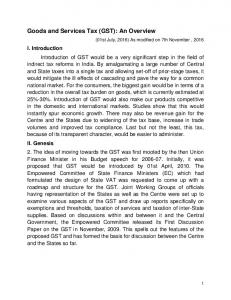 Goods and Services Tax (GST): An Overview