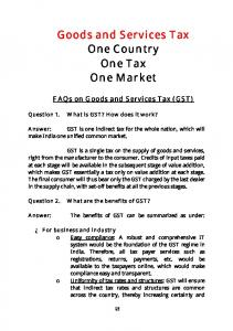 Goods and Services Tax One Country One Tax One Market