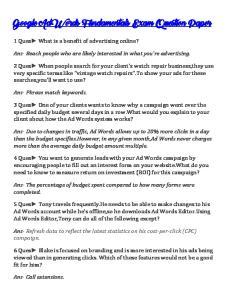 Google AdWords Fundamentals Exam Question Paper