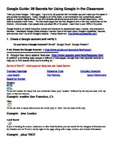 Google Guide: 29 Secrets for Using Google in the Classroom