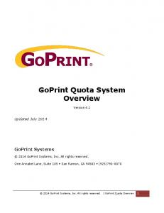 GoPrint Quota System Overview