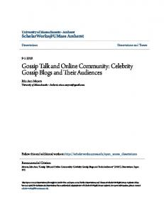 Gossip Talk and Online Community: Celebrity Gossip Blogs and Their Audiences