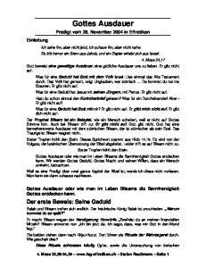 Gottes Ausdauer. Predigt vom 28. November 2004 in Effretikon