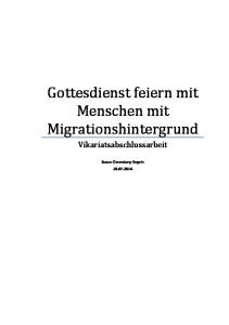 Gottesdienst feiern mit Menschen mit Migrationshintergrund. Vikariatsabschlussarbeit