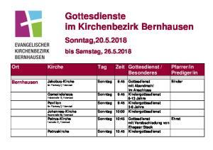 Gottesdienste im Kirchenbezirk Bernhausen