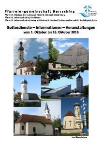 Gottesdienste Informationen Veranstaltungen vom 1. Oktober bis 16. Oktober 2016