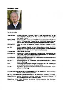 Gottfried E. Kreuz. Curriculum vitae: