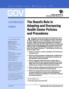GOV. Adopting general policies and procedures for implementation by the