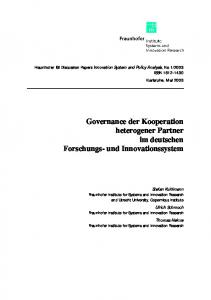 Governance der Kooperation heterogener Partner im deutschen Forschungs- und Innovationssystem