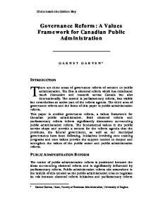 Governance Reform: A Values Framework for Canadian Public Administration
