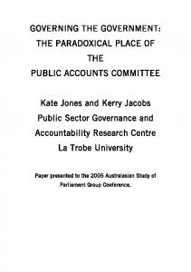 GOVERNING THE GOVERNMENT: THE PARADOXICAL PLACE OF THE PUBLIC ACCOUNTS COMMITTEE