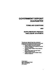 GOVERNMENT DEPOSIT GUARANTEE
