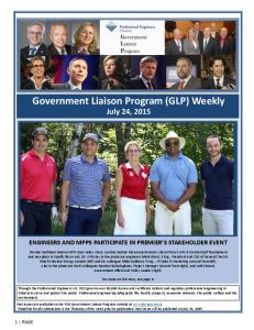 Government Liaison Program (GLP) Weekly July 24, 2015