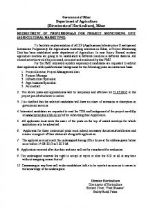 Government of Bihar Department of Agriculture (Directorate of Horticulture), Bihar