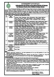 GOVERNMENT OF HARYANA Advertisement for filling up the posts of Faculty & Doctors for Kalpana Chawla Govt. Medical College, Karnal