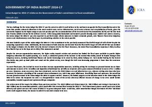 GOVERNMENT OF INDIA BUDGET