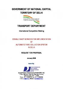 GOVERNMENT OF NATIONAL CAPITAL TERRITORY OF DELHI TRANSPORT DEPARTMENT