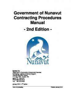 Government of Nunavut Contracting Procedures Manual - 2nd Edition -