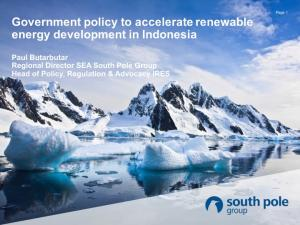 Government policy to accelerate renewable energy development in Indonesia