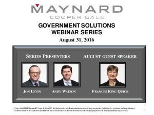 GOVERNMENT SOLUTIONS WEBINAR SERIES