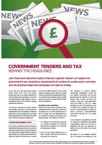 GOVERNMENT TENDERS AND TAX
