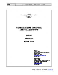 GOVERNMENTAL IMMUNITY: ATTACK AND DEFEND