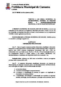 Governo do Estado da Bahia Prefeitura Municipal de Camamu Gabinete
