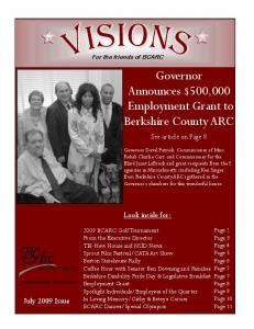 Governor Announces $500,000 Employment Grant to Berkshire County ARC