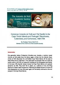 Governor Antonio de Noli and His Family in the Cape Verde Islands and Portugal: Discoverers, Colonizers, and Governors,