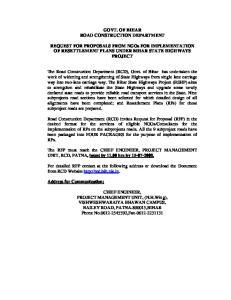 GOVT. OF BIHAR ROAD CONSTRUCTION DEPARTMENT