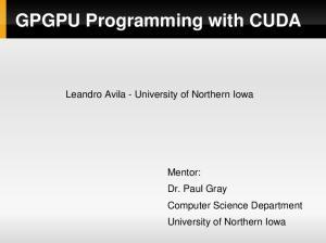 GPGPU Programming with CUDA