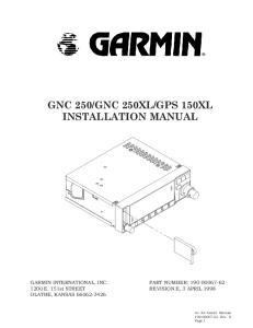 GPS 150XL INSTALLATION MANUAL
