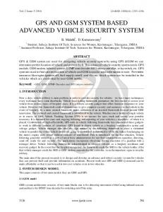 GPS AND GSM SYSTEM BASED ADVANCED VEHICLE SECURITY SYSTEM