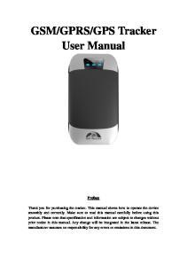 GPS Tracker User Manual Preface