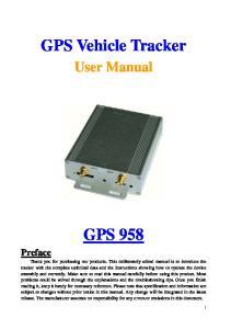 GPS Vehicle Tracker. User Manual GPS 958