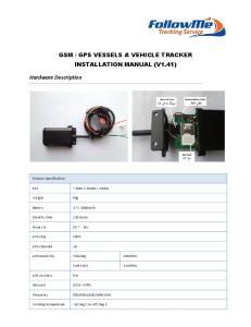 GPS VESSELS & VEHICLE TRACKER INSTALLATION MANUAL (V1.41)