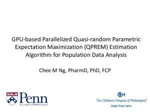 GPU-based Parallelized Quasi-random Parametric Expectation Maximization (QPREM) Estimation Algorithm for Population Data Analysis