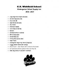 G.R. Whitfield School Kindergarten School Supply List